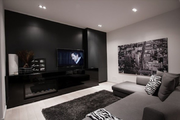 23 salas decoradas com fotos de antes e depois for Black and grey living room decorating ideas