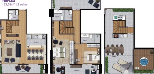 13-plantas de casas triplex
