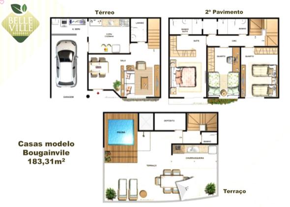 2-plantas de casas triplex