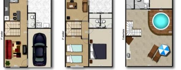 3-plantas de casas triplex