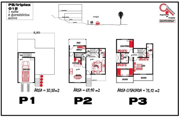 4-plantas de casas triplex