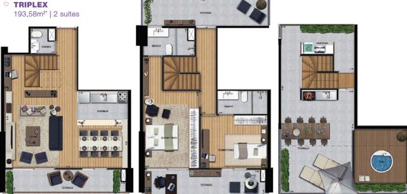 7-plantas de casas triplex