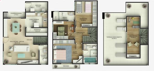 9-plantas de casas triplex