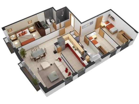 10-plantas de casas 3d modelos