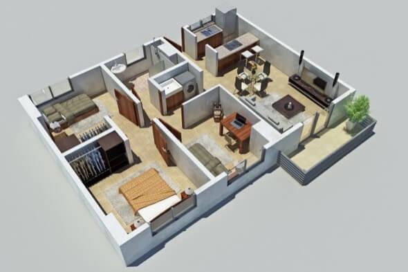 18-plantas de casas 3d modelos