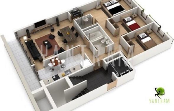 19-plantas de casas 3d modelos