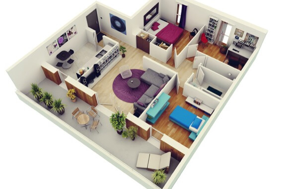 2-plantas de casas 3d modelos