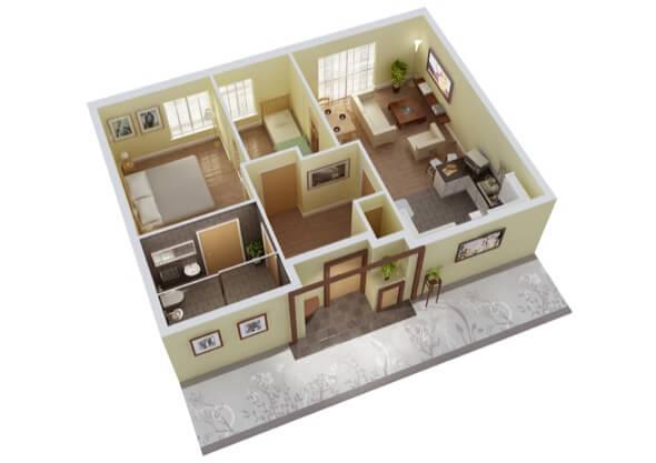 20-plantas de casas 3d modelos