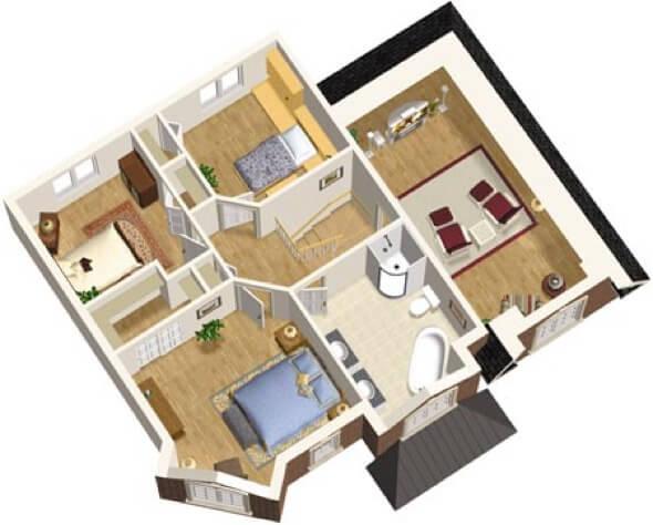24-plantas de casas 3d modelos