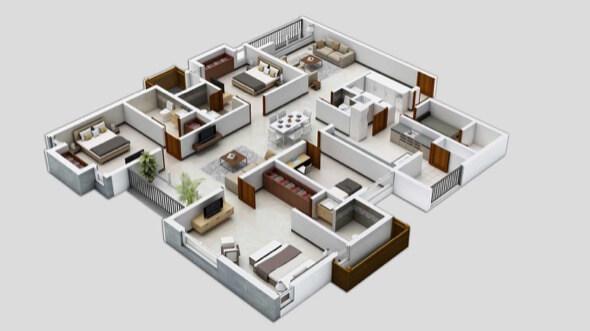 25-plantas de casas 3d modelos