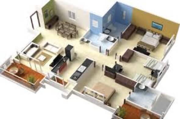 28-plantas de casas 3d modelos