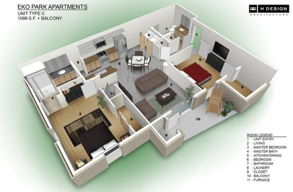 29-plantas de casas 3d modelos