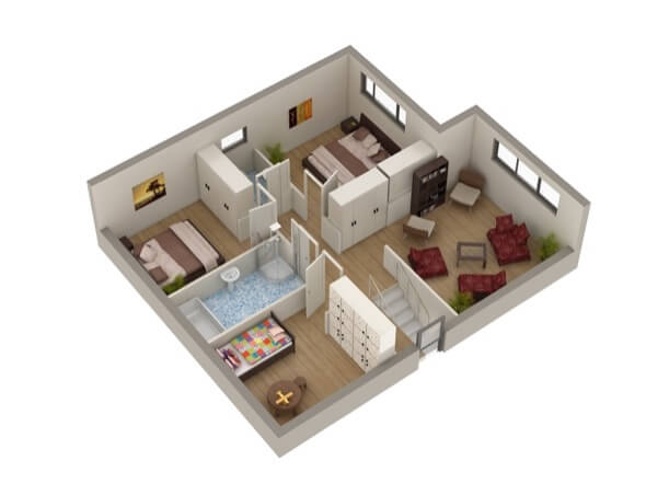 33-plantas de casas 3d modelos
