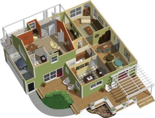 34-plantas de casas 3d modelos
