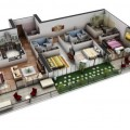 4-plantas de casas 3d modelos
