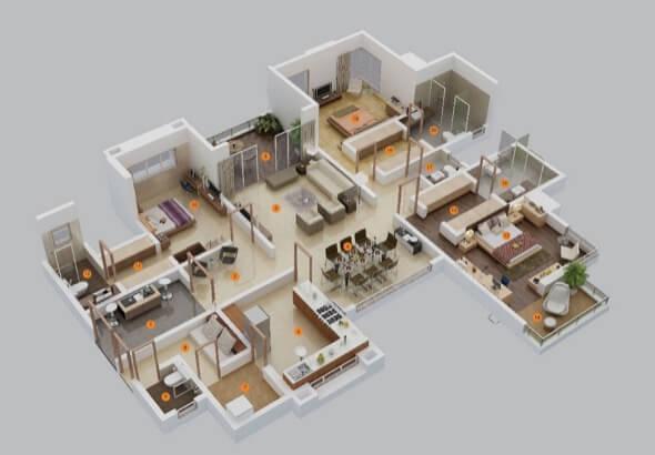 6-plantas de casas 3d modelos