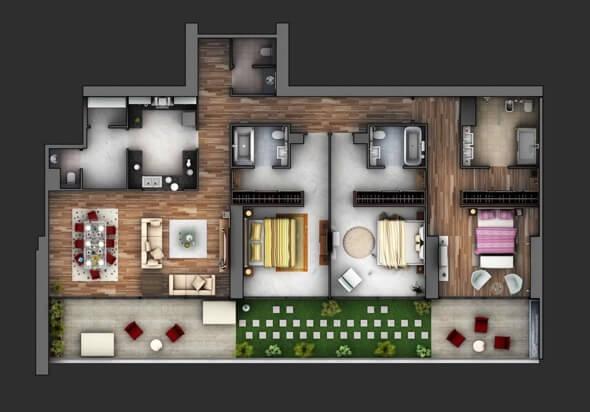 8-plantas de casas 3d modelos