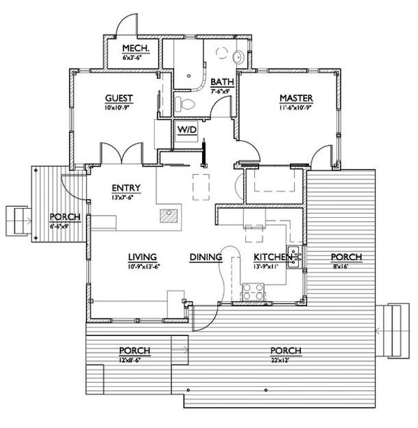 planta de casa pequena estilo cottage3