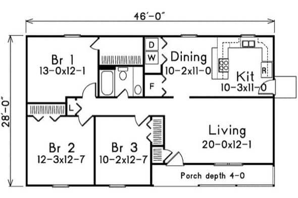 19-plantas de casas 3 quartos modelos