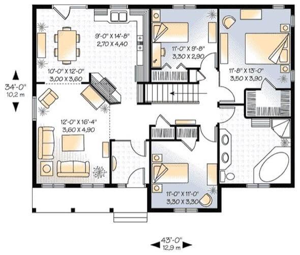 24-plantas de casas 3 quartos modelos