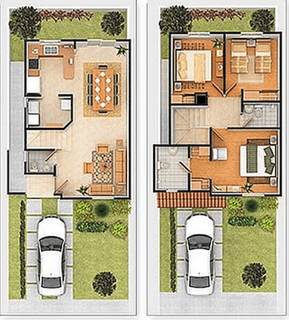 Plantas de casas com 2 pisos 25 modelos ispiradores for Planos de casas minimalistas pequenas