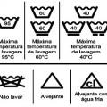 Etiqueta de lavagem de roupas balde e triângulo