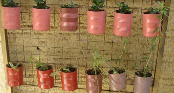 Jardim com latas recicláveis10