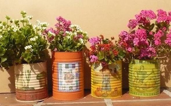 Jardim com latas recicláveis6
