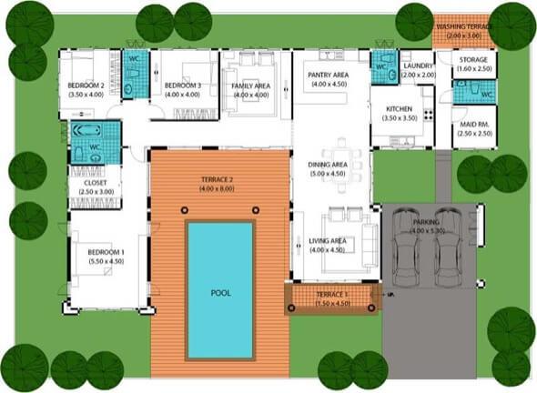 11-plantas de casas com piscinas modelos