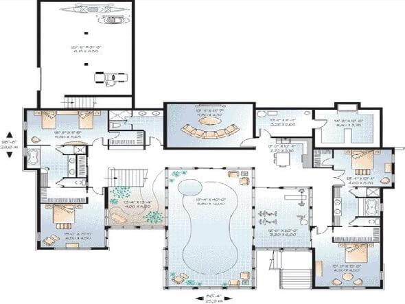 14-plantas de casas com piscinas modelos