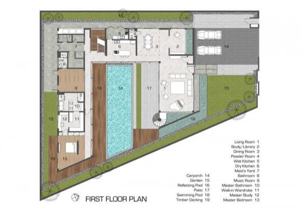 2-plantas de casas com piscinas modelos