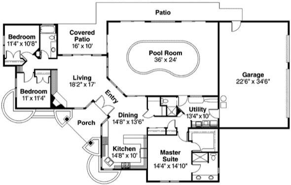 3-plantas de casas com piscinas modelos