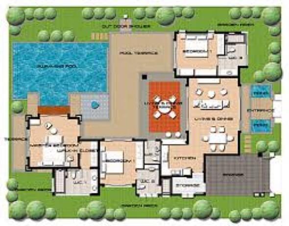 Plantas de casas com piscina 32 modelos para constru o for Plantas para piscinas