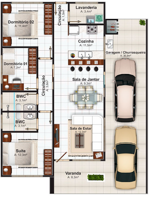 Amado 24 modelos de plantas de casas térreas pequenas e grandes FP99