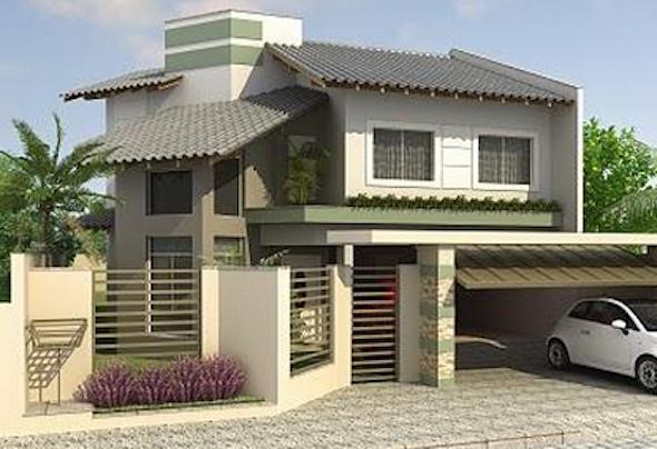 Frente de casas com muros modelo14 for Modelos de frentes de casas