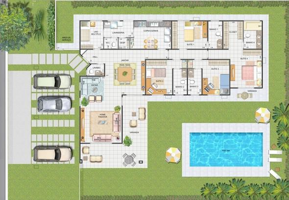Plantas de casas com piscina 32 modelos para constru o for Modelos piscinas pequenas para casas