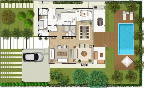 Imagen en planta de una casa con piscina imagui for Plantas para piscinas