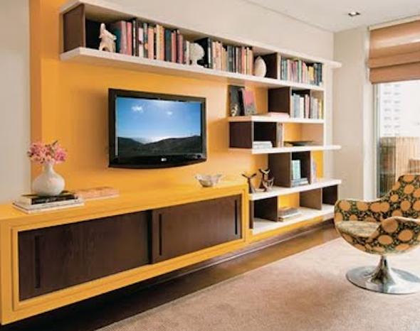 15 modelos de estantes modernas para sala e diversas dicas for Salas de television modernas