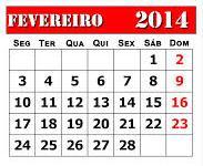 Calendário 2014 fevereiro 01
