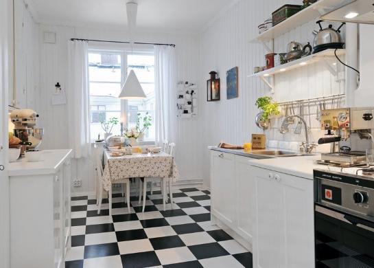 Piso preto e branco em cozinhas5
