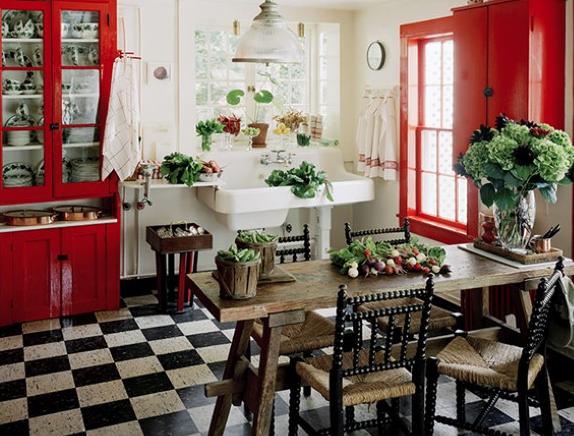 Piso preto e branco em cozinhas9