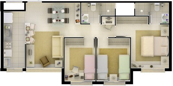 19 plantas de casas com cozinha americana for Suite prefabbricata