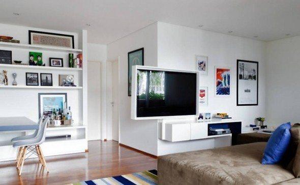 Decoracao Sala Homem Solteiro ~  TV é o ponto forte na decoração desta sala para um homem solteiro