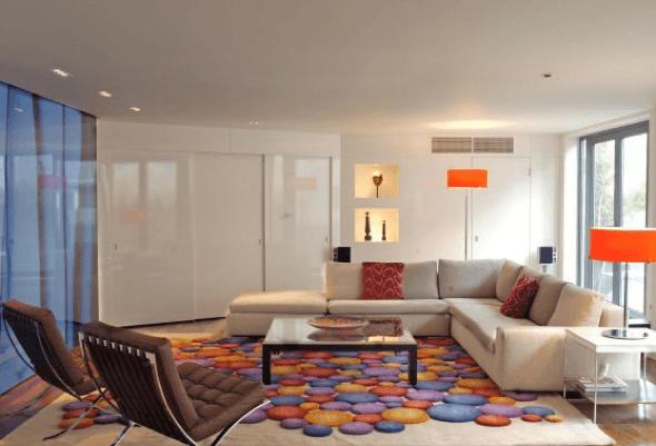 7-Tapetes para sala de estar modelos