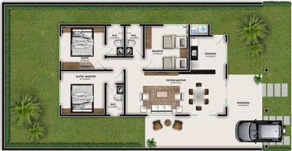 13 plantas bonitas de casas populares para voc tirar id ias for Casas modernas de 70m2