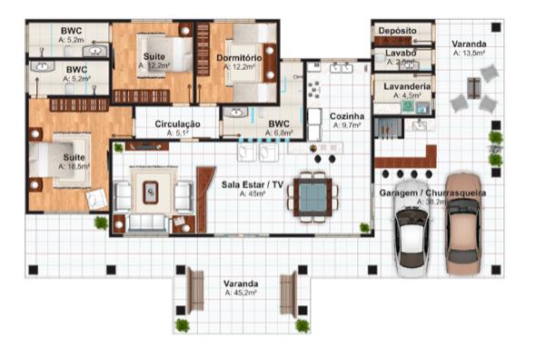 11-plantas de casas com salas grandes