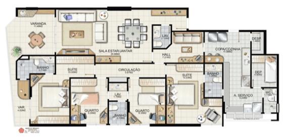 12-plantas de casas com 4 quartos