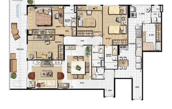 13-plantas de casas com 4 quartos