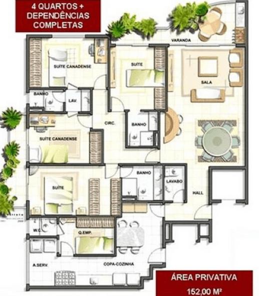 16-plantas de casas com 4 quartos