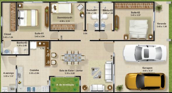 23-plantas de casas com 4 quartos